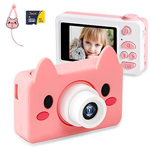 NEKAN Appareil Photo Enfants 8MP 1080P HD Caméra Photo/Vidéo Rechargeable Appareil Photo Numerique Enfant avec Écran LCD 2.0 Pouces et 16 Go Carte SD Cadeau de Fête d'anniversaire(Rose)