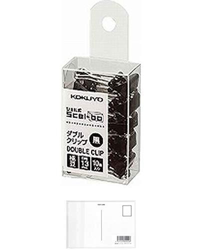 コクヨ ダブルクリップ Scel-bo 個箱タイプ 極豆サイズ 口幅13mm 10個 黒 クリ-J37D 『 2セット』 + 画材屋ドットコム ポストカードA