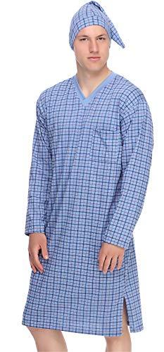 Timone Herren Nachthemd mit Schlafmütze TIDR5001 (Blau Kariert, M)