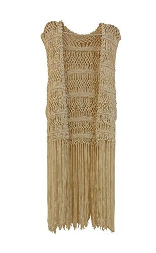 tinacrochetstudio? Lange Fransen Häkelweste Bikini Überzug Hippie Sommer Strandmode - weiß - Medium