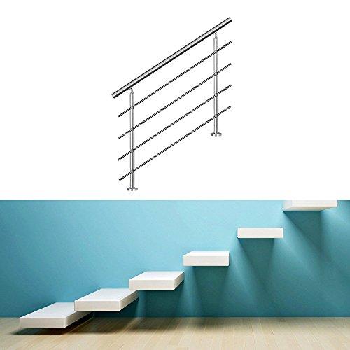 Hengda® Edelstahl Geländer Balkongeländer Wand Geländer Geländerpfosten | für Treppengeländer Boden Außen | Edelstahl Wandhalter (mit 2 Pfosten,120CM, 4 Querstreben)