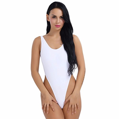 YiZYiF Damen Body Sportbody High Cut Rückenfrei Dessous Bodysuit Thong Leotard Bikini Badeanzug S M L XL 2XL (Weiß, Small)