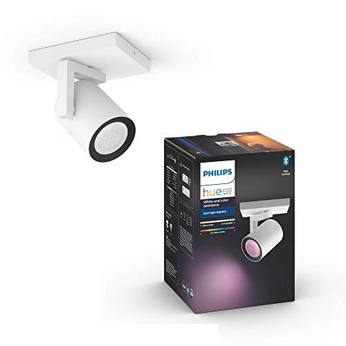 Philips Hue White & Col. Amb. LED 1-er Spot Argenta, weiß, dimmbar, 16 Mio. Farben, steuerbar via App, kompatibel mit Amazon Alexa (Echo, Echo Dot)