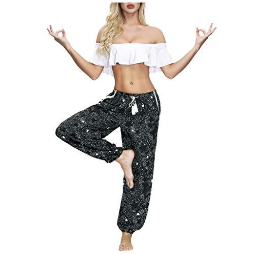 Pantalon pour Femme, YUYOUG 2020 Femmes Casual Summer Loose Yoga Trousers Baggy Boho Palazzo Lounge Pants Side Split Beach Pants Wide Leg Pants