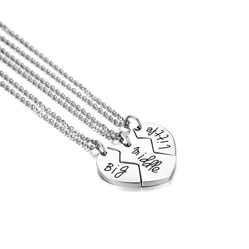 JewelryWe Schmuck 3PCS Freundschaftsketten Besten Freunde Halskette Edelstahl Big/Middle/Little Gravur Split Herz Anhänger Kette Freundschaftsgeschenk Silber …