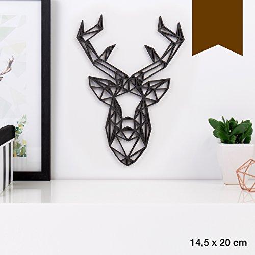 KLEINLAUT 3D-Origamis aus Holz - Wähle EIN Motiv & Farbe - Hirschkopf - 14,5 x 20 cm (M) - Braun