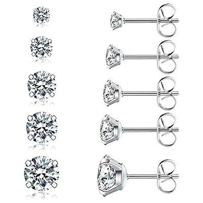 5 Pairs Stud Earrings Set, Hypoallergenic Cubic Zirconia 316L Earrings Stainless Steel CZ Earrings 3-8mm, Rose Gold (Steel color)