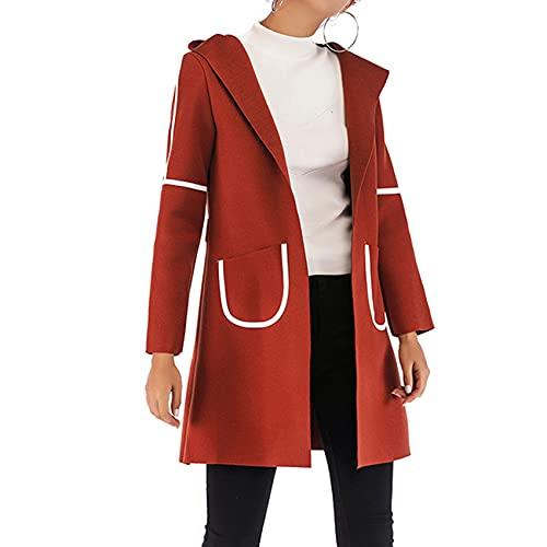 OtoñO E Invierno, Moda Informal para Mujer, Bolsillos De Color SóLido con Capucha, Abrigo Suelto De Manga Larga, Chaqueta De Punto Medio para Mujer