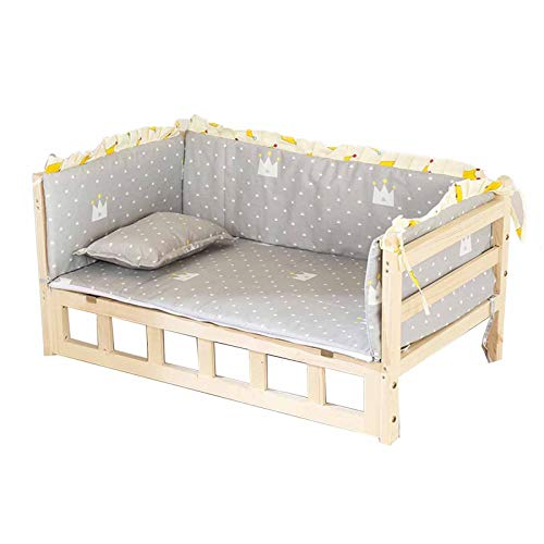 JLXJ Wooden Dogs Bed with Soft Grey Mattress, For Large Medium Small Pets, Elevated Orthopedic Detachable Dogs Couch for Winter Warm (Size : 94×54×36cm)