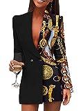 Onsoyours Donna Abito Blazer Elegante Giacca Ufficio Elegante A Maniche Lunghe con Scollo A V Abito Slim Fit Bottoni Abbinati A Mini Camicie Glitterate Dress A Nero M