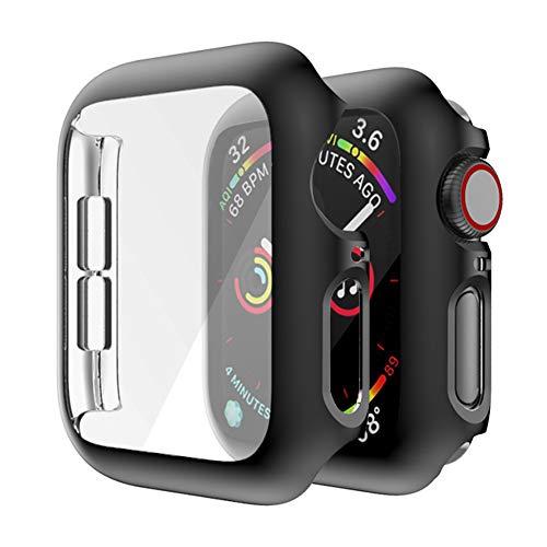 MroTech Funda Compatible con Apple Watch 44mm Series 4 5 6 Case con Protector de Pantalla Cover Incorporado Rugged PC Estuche para iWatch Serie 2/Serie 3 44 mm Screen Protector Case Cover-Negro
