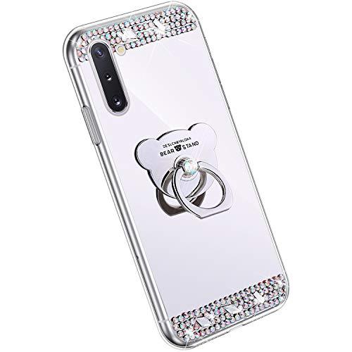 Ysimee Spiegel Hülle kompatibel mit Samsung Galaxy Note 10 [Ring Holder], Dünne Handyhülle Samsung Note 10 Bling Glitzer Diamant Hülle mit 360 Grad Ständer Kratzfest Stoßdämpfend Schutzhülle, Silber