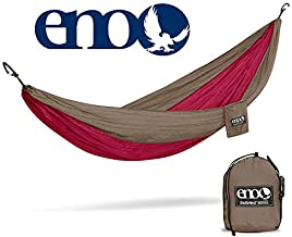 ENO, Eagles Nest Outfitters DoubleNest Lightweight Camping Hammock, 1 to 2 Person, Khaki/Maroon