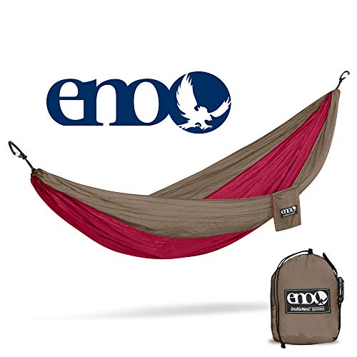 ENO - Eagles Nest Outfitters DoubleNest Hammock, Portable Hammock for Two, Khaki/Maroon (FFP)