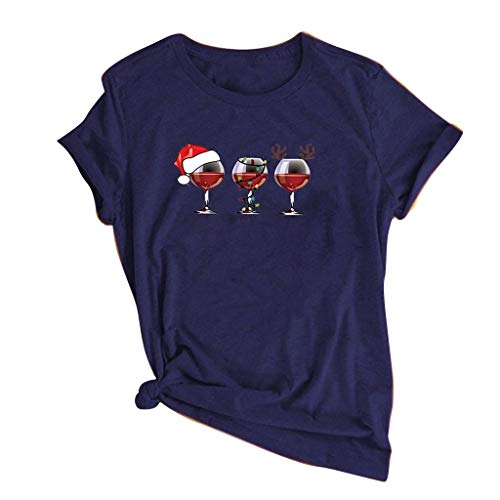 DYXYH Copa de Vino Impreso T Shirt T Shirt Mujer Modelo de Navidad O-Cuello Manga Corta Camiseta Casual Ropa de Damas (Color : B, Size : XXL Code)