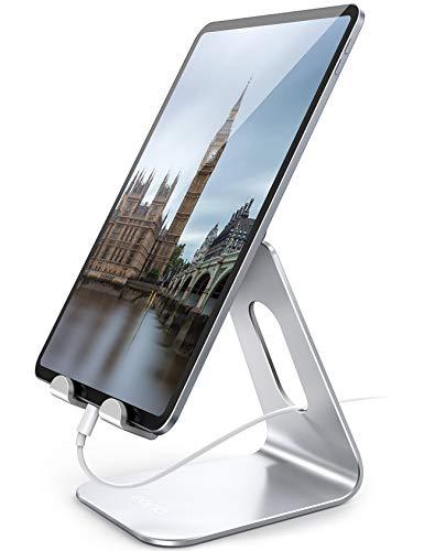 """Amazon Brand – Eono Supporto Tablet Regolabile, Universale Stand Porta Cellulare da Tavolo Dock per iPad PRO 9.7/10.5/11/12.9, Air Mini 2 3 4, Galaxy Tab, iPhone 12 11, Altri 5""""-13"""" Tablets - Argento"""