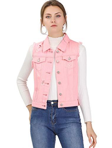 Allegra K Chaleco Vaquero Lavado Cuello Reversible Cierre De Botón para Mujer Rosa XL