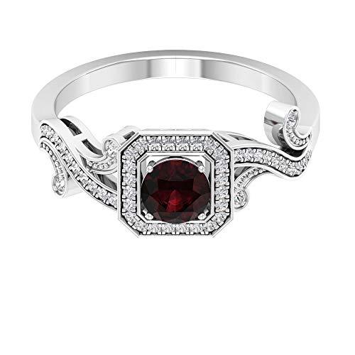 Anillo de boda de granate solitario certificado de 0,60 ct, anillo de diamante clásico de 1/4 ct con cuentas grabadas, anillo de novia de piedra preciosa única, 14K Oro blanco, granate, Size:EU 58