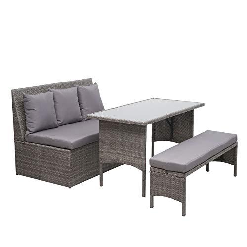 Mendler HWC-G16 - Conjunto de muebles de jardín (polirratán), Gris, cojín gris oscuro.