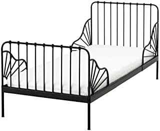 Ikea Ext bed frame with slatted bed base, black , 38 1/4x74 3/4