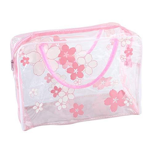Momangel Trousse de Maquillage Portable pour Femme Motif Floral Transparent, PVC, Rose