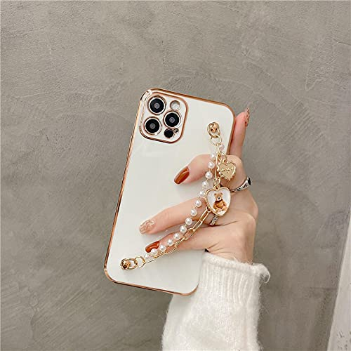 Carcasa De Telefono Estuche Blando con Pulsera De Oso De Amor De Metal 3D Electrochapado De Lujo para iPhone 12 Pro MAX Mini 11 Pro MAX XR X XS MAX 7