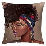 SARA NELL Velvet Throw African Women Pillow Cases,African American Women,Pillow Covers Decorative Black Art Pillowcase Cushion Covers Zipper 18 x 18 in