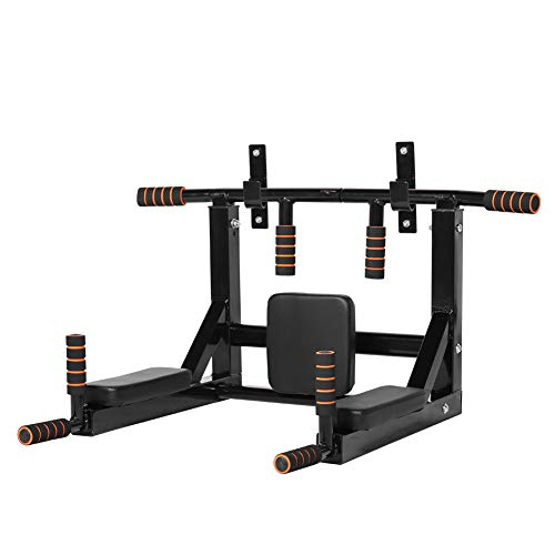Gielmiy Multifunctional Wall Mounted Pull-Up Bar Wall Mounting Gym Bar 2in1,Dip Station for Indoor Home Gym Workout, Power Tower Set Training Equipment Fitness Dip Stand Supports -Max Limit 440 Lbs