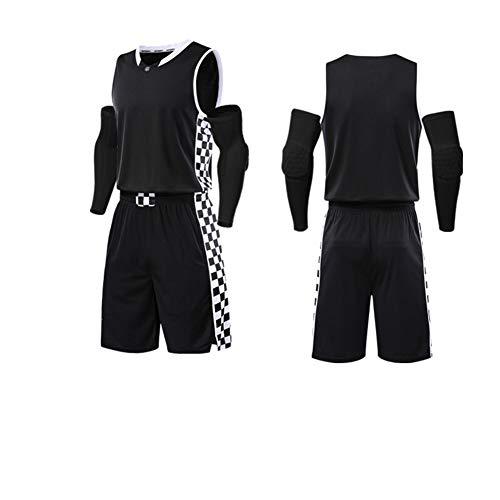 LIUGJ Basketballuniform, Basketballuniform Anzug benutzerdefinierte männlichen Studenten Wettbewerb Team Uniform Kentucky Trikot weiblichen Sport Training atmungsaktiv Druck-Black-XXXXXL