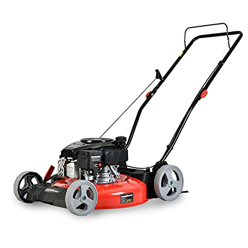 PowerSmart Lawn Mower, 21-inch & 144CC, Gas Powered Push Lawn Mower with 4-Stroke Engine, 2-in-1 Gas Mower in Color Red/Black, 5 Adjustable Heights (1.18''-3.0'' ), DB2321CR