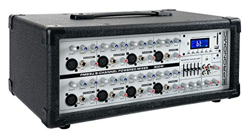 Pronomic PM83U 8-Kanal Powermischer mit USB/SD/Bluetooth MP3-Player (Live Mischpult mit integriertem Verstärker, Digitales Effektgerät, 300W)