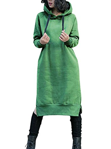 NUTEXROL Damen eindickung lange fleece-sweatshirt string hoodie kleid pullover plus size Grün XXX-Large