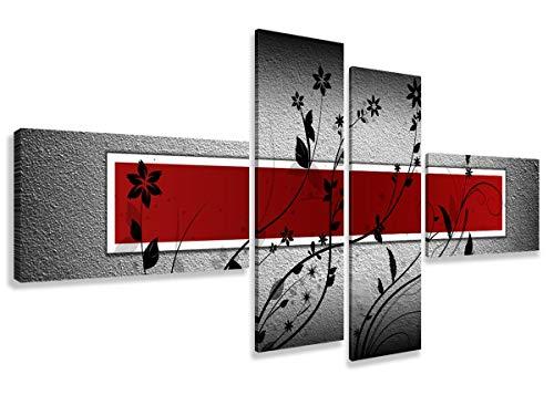 Visario Leinwandbilder 6535 Bild auf Leinwand, 160 cm fertig gerahmte Bilder, 4 Teile, rot