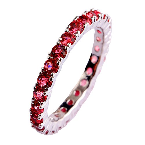 Psiroy 925 Sterling Silver Created Ruby Spinel Filled Eternity Stacking Ring Band Size 7