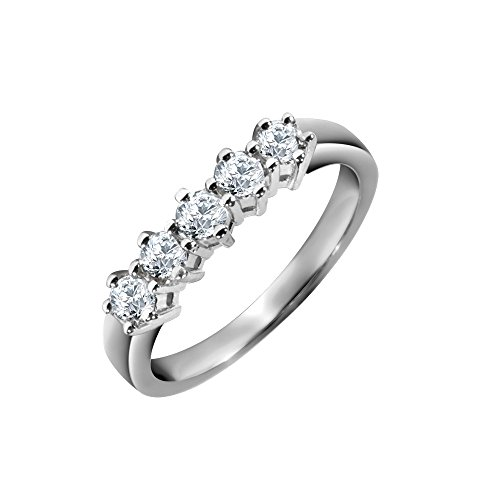 Jewelco London dames massief 18 karaat wit goud 6 klauwen set rond SI1 0,5 ct Ct Diamant 5 stenen eeuwigheid ring 4 mm