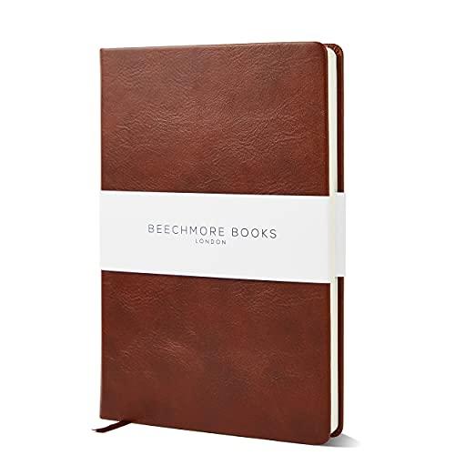 Beechmore Books: Taccuino a Righe, Formato A5, copertina rigida, carta spessa di color avorio (120 gsm) - Marrone