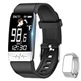 Fitness Tracker,Smart Watch with Body Temperature Thermometer Heart Rate Blood Oxygen Blood Pressure Monitor,Pedometer Watch with Sleep Monitor, Step Tracker for Kids Women Men (A-Black+Gray)