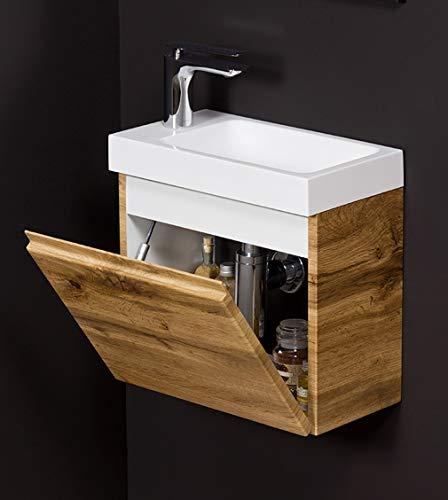Quentis Badmöbel Gäste-WC Set Faros, Breite 40 cm, Waschbecken mit Unterschrank, Eiche Natur, Unterschrank montiert