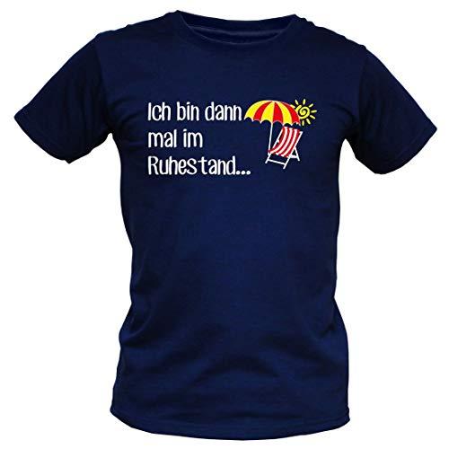Witziges T-Shirt für Rentner - Ich Bin dann mal im Ruhestand - Funshirt zur Pension und als Geschenk, Größe:XL