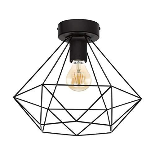 EGLO Deckenlampe Tarbes, 1 flammige Vintage Deckenleuchte im Retro Look, Material: Stahl, Farbe: Schwarz, Fassung: E27