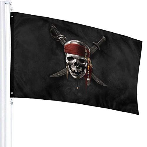 HAOHAODE Bandera de piratas del Caribe de 3 x 5 pies para decoración de jardín al aire libre