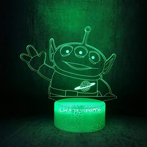Lámpara De Ilusión 3D Luz De Noche Led Triángulo Monstruo Que Agita La Mano Base De Grieta Blanca Toque Inteligente Acrílico Remoto Dibujos Animados Mejores Regalos De Cumpleaños Para Niños