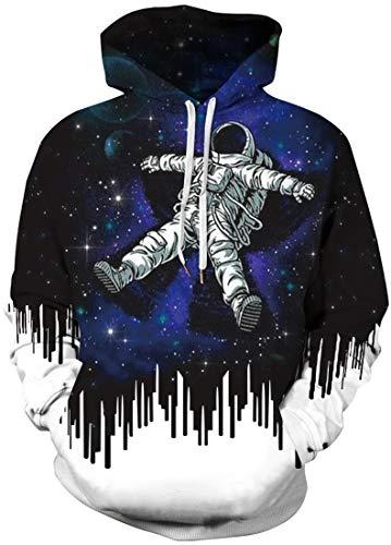 FLYCHEN Mens NASA Hoodies Astronaut Space Suit Long Sleeve Sweatshirts Unisex Pullover 3D Printed NASA Pattern Jumper Plus Size S Astronaut 1