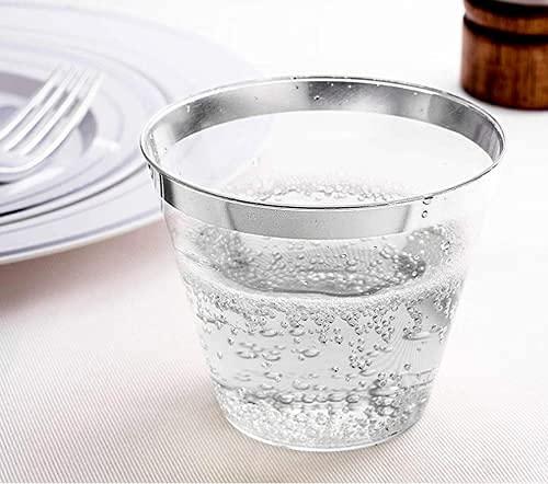 Bicchieri da 270 ml, in plastica, usa e getta, eleganti, ideali per feste, ricevimenti di nozze, confezione da 50 (255,1 ml, 270 ml, argento)