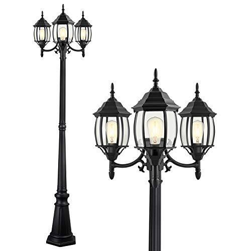 PARTPHONER Outdoor Lamp Post Light 3-Head, Classic Black Light Pole with Clear Glass Panels, E26 Base Maximum 100W Bulbs(not Included), Waterproof Street Light for Backyard, Garden, Driveway