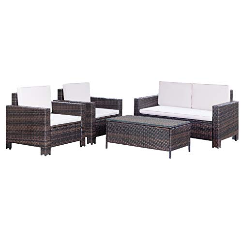 Homall 4 Pieces Outdoor Patio Furniture Sets Rattan Chair Wicker Conversation Sofa Set, Outdoor...