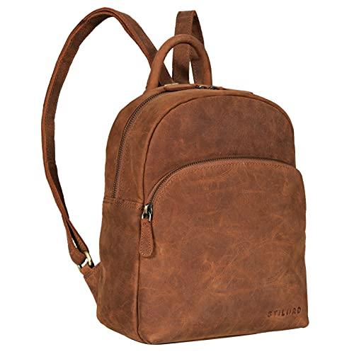 STILORD 'Penelope' Damen Leder Rucksack Kleiner Lederrucksack Vintage Daypack Cityrucksack für Ausgehen Shopping Tagesrucksack Echtleder, Farbe:tan - Dunkelbraun