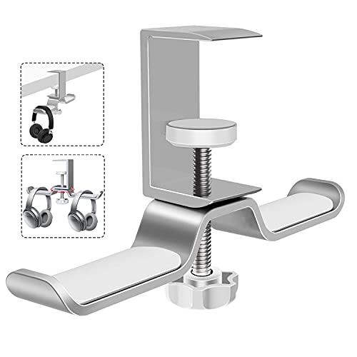 Doppelter Headset-Halter, um 360 ° drehbarer Kopfhörerständer aus Premium-Aluminiumlegierung, Headset-Halter Sparen Sie Platz auf dem Schreibtisch für alle drahtlosen oder kabelgebundenen Kopfhörer