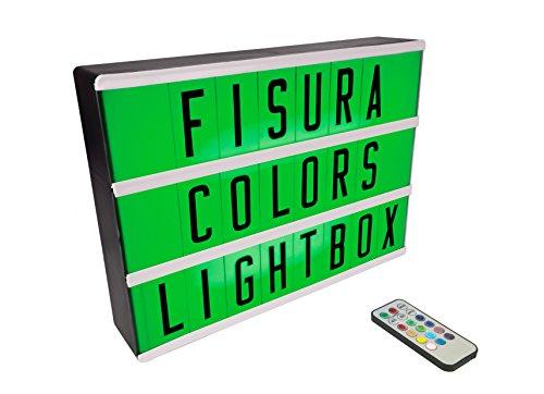 FISURA DC0634 Lightbox Caja de Luz Cinematografica Multicolor Tamaño A4 con 107 Numeros y Letras Box Lampara Led DIYDecoración
