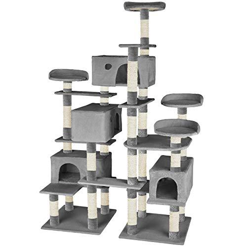 TecTake 800511 XXL Katzen Kratzbaum | Stämme komplett mit Kokosseil umwickelt | 214cm hoch - Diverse Farben (Grau | Nr. 402807)
